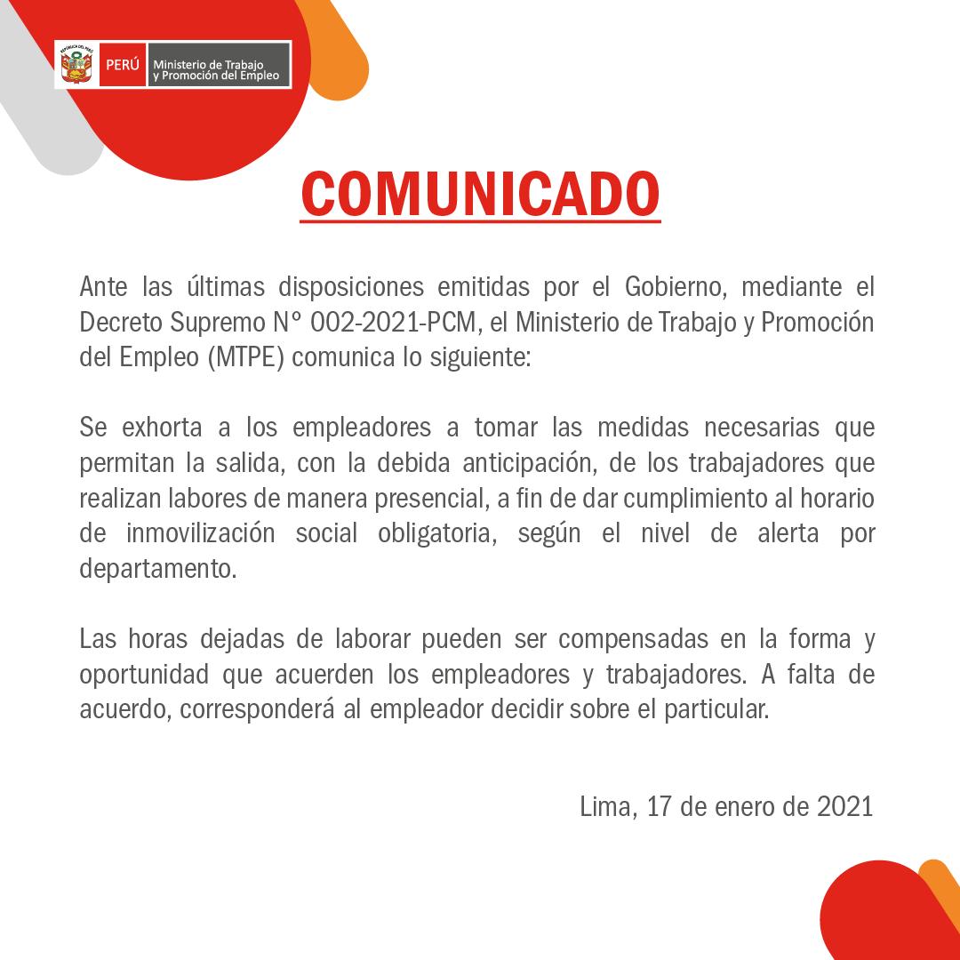 Comunicado Ministerio de Trabajo