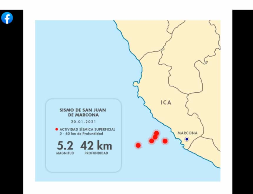 IGP: Sismos registrados en Marcona son eventos independientes