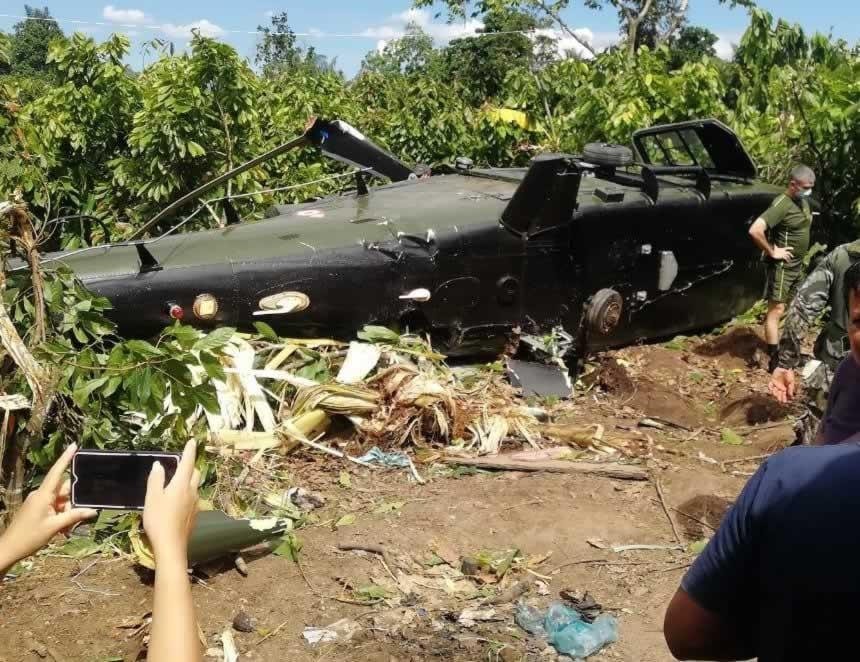 Helicóptero del Ejército caído (Foto: Mazamari Noticias)