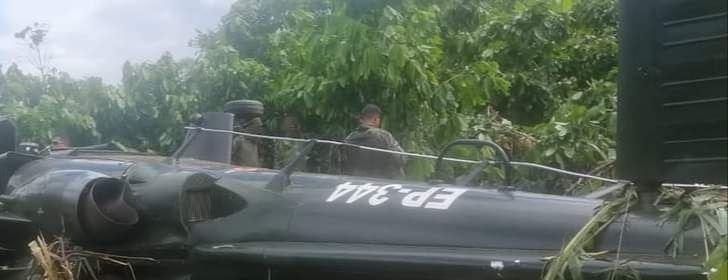 Helicóptero del Ejército caído en Mazamari (Foto: Mazamari Noticias)