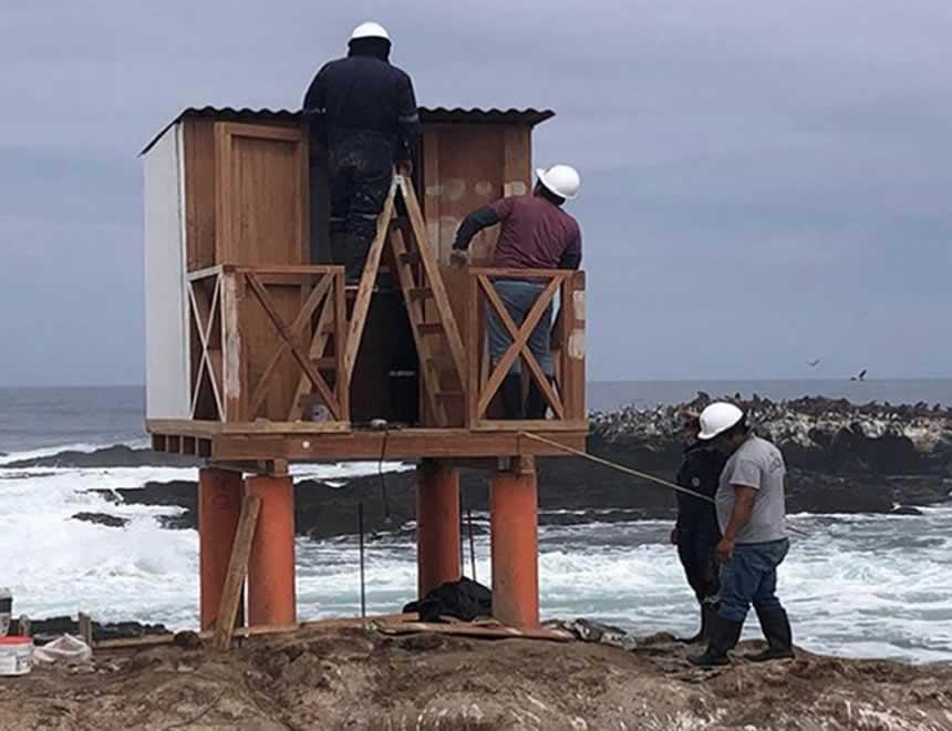 Monitoreo del mar desde Islas Hormigas (Foto: DHN).
