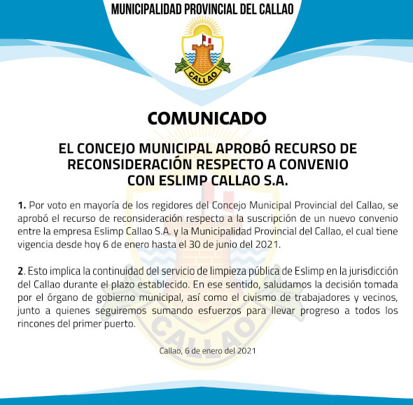 Por mayoría, el Concejo Provincial del Callao aprobó la suscripción de un nuevo convenio de prestación de servicios de limpieza pública (Fuente. Municipalidad del Callao).