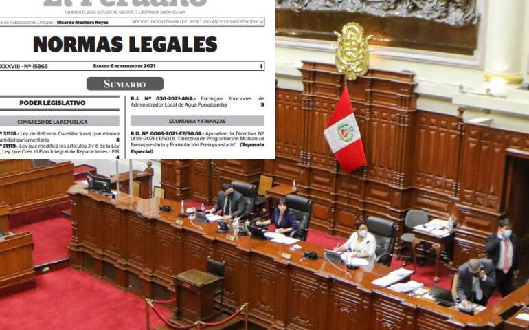 Congreso promulga reforma constitucional que elimina la inmunidad parlamentaria (Foto: Congreso/ Ediciòn: agendapais).