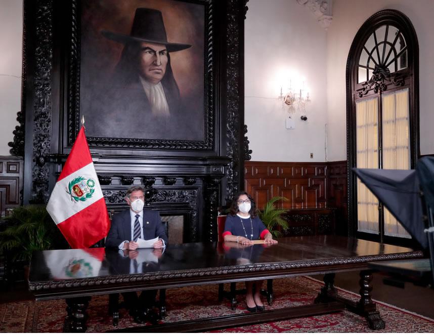 Francisco Sagasti y jefe del Gabinete, Violeta Bermúdez (Foto: Presidencia de la República).