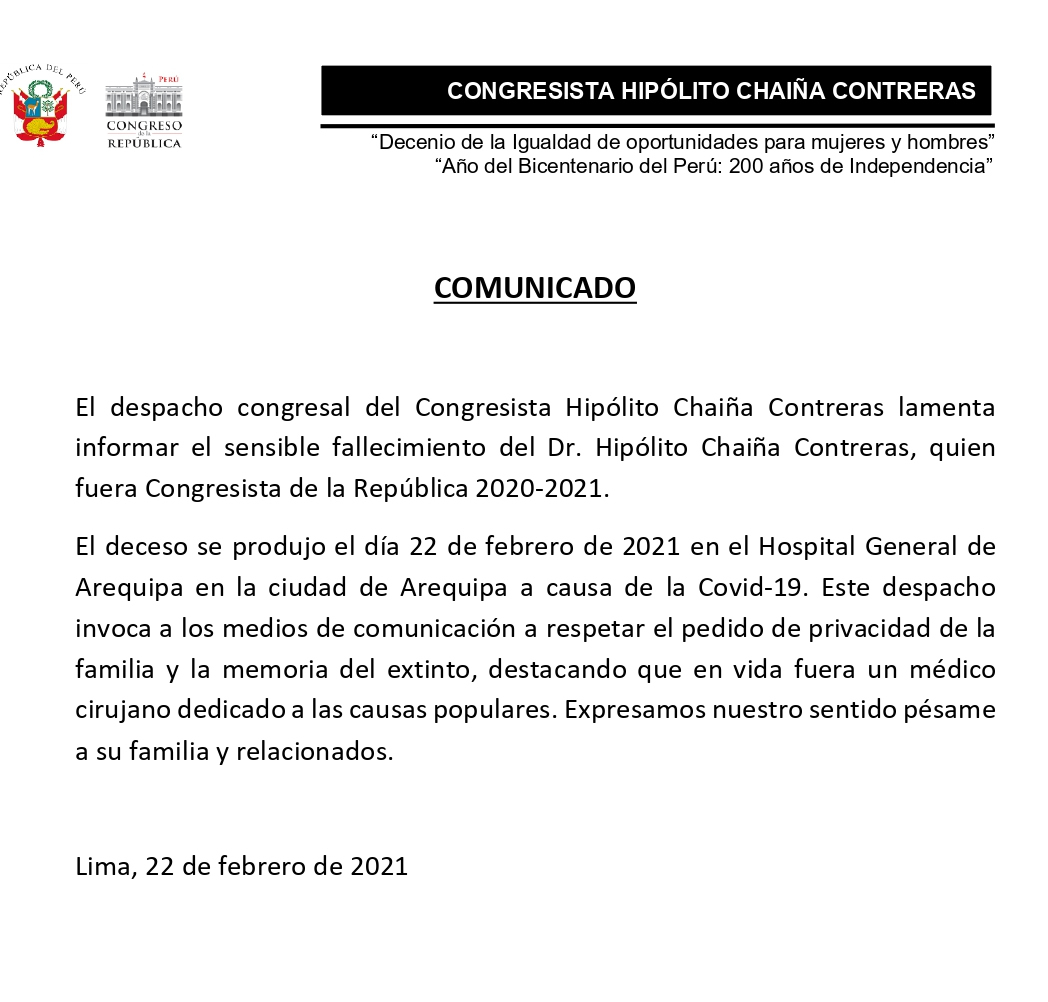 Aviso Fallecimiento de congresista Hipólito Chaiña