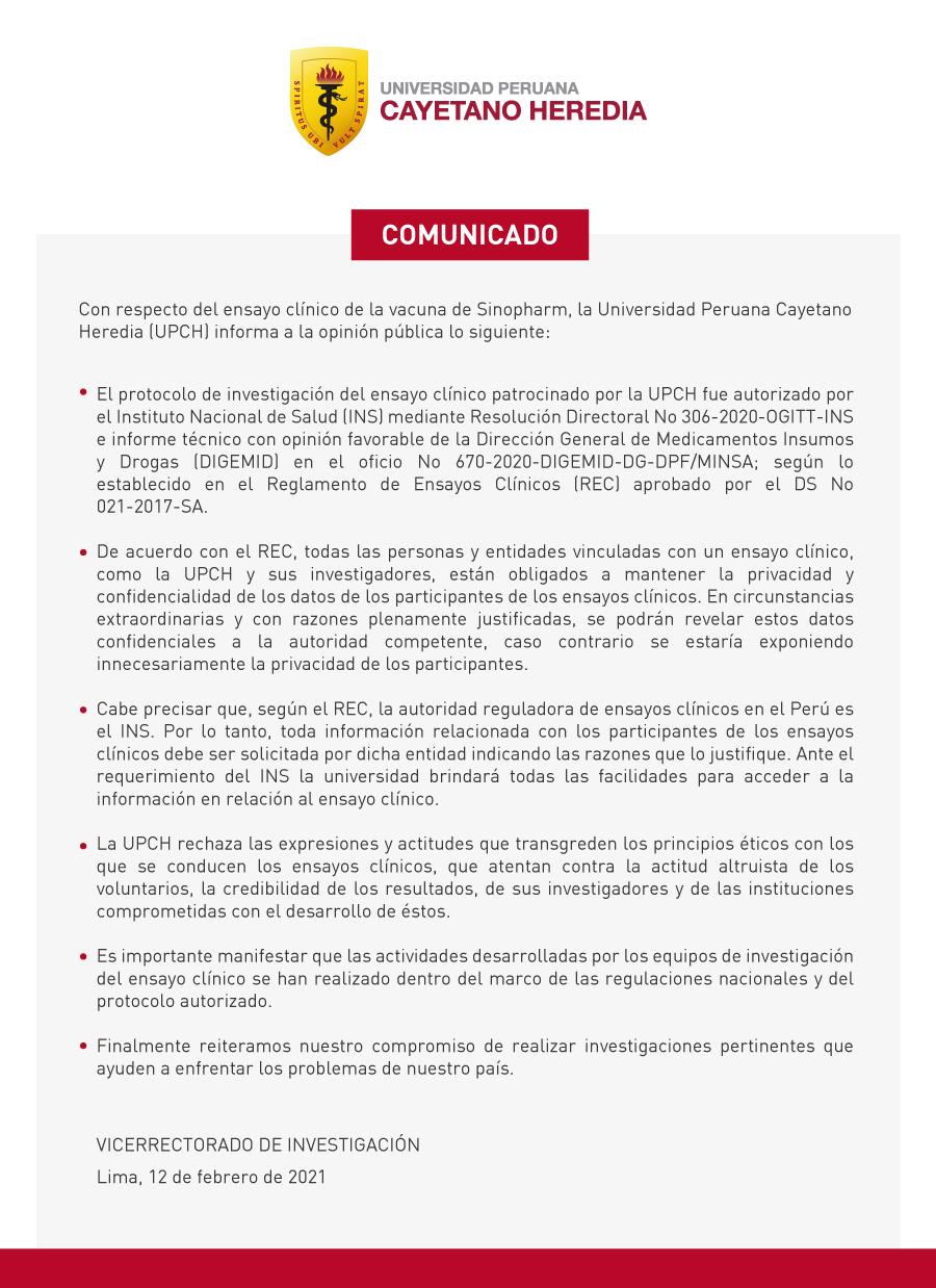 UPCH, Comunicado