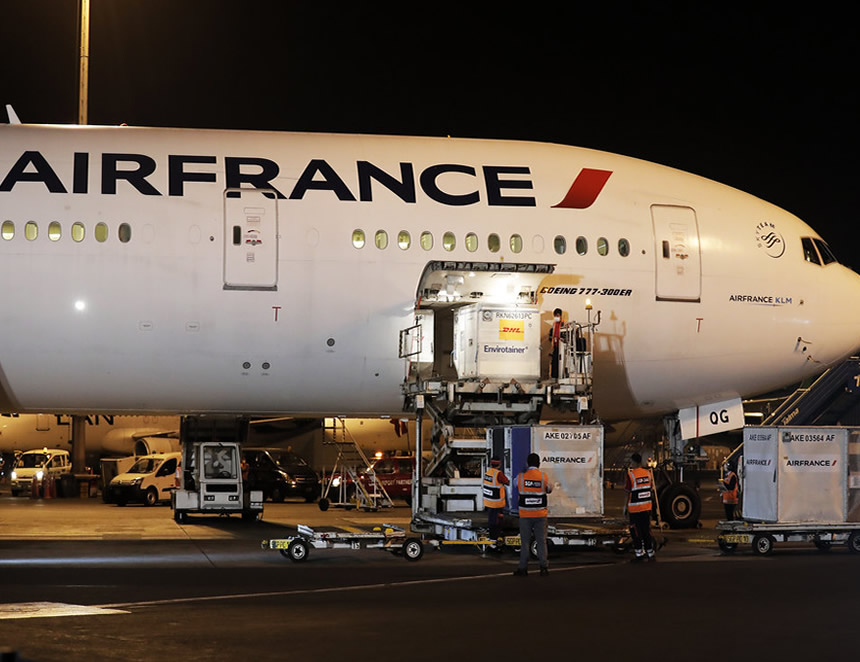 Air France, nave que trajo a Lima las primeras vacunas desde China (Foto: Presidencia de la República).