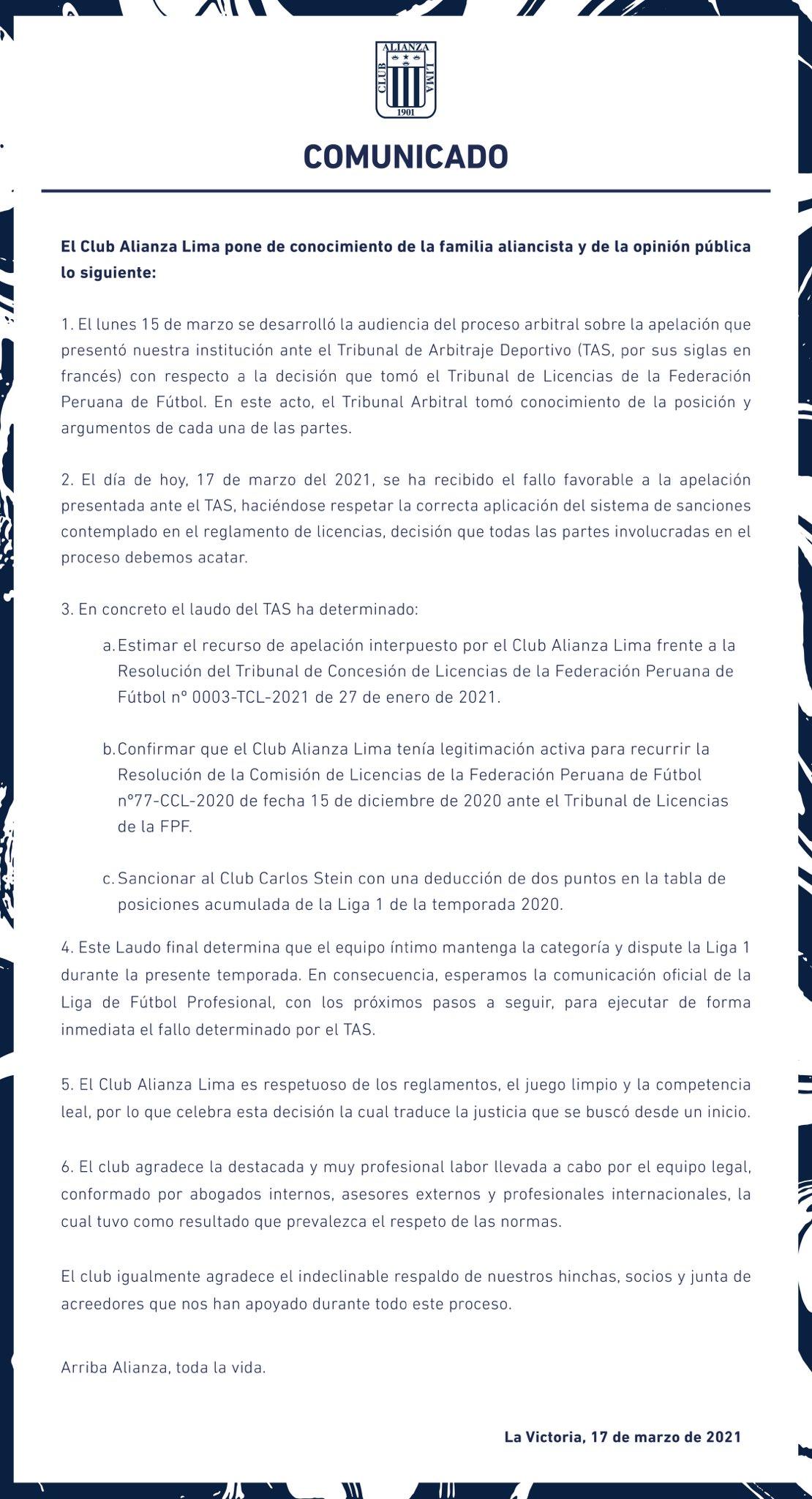 Comunicado Alianza Lima.