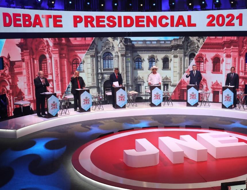 Palabras finales de cinco de los seis candidatos que participaron en la segunda jornada del debate (Foto: JNE).