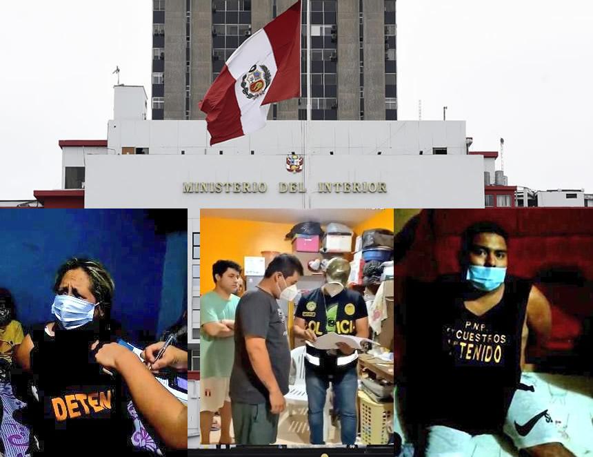Detenidos en megaoperativo (Foto: Mininter/composición: agendapais.com).