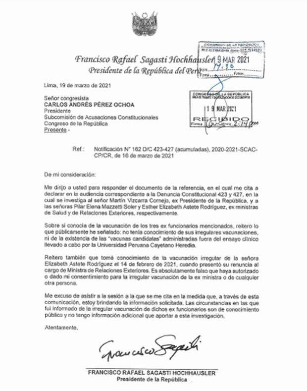 Carta del presidente Sagasti a Subcomisiòn de Acusaciones Constitucionales