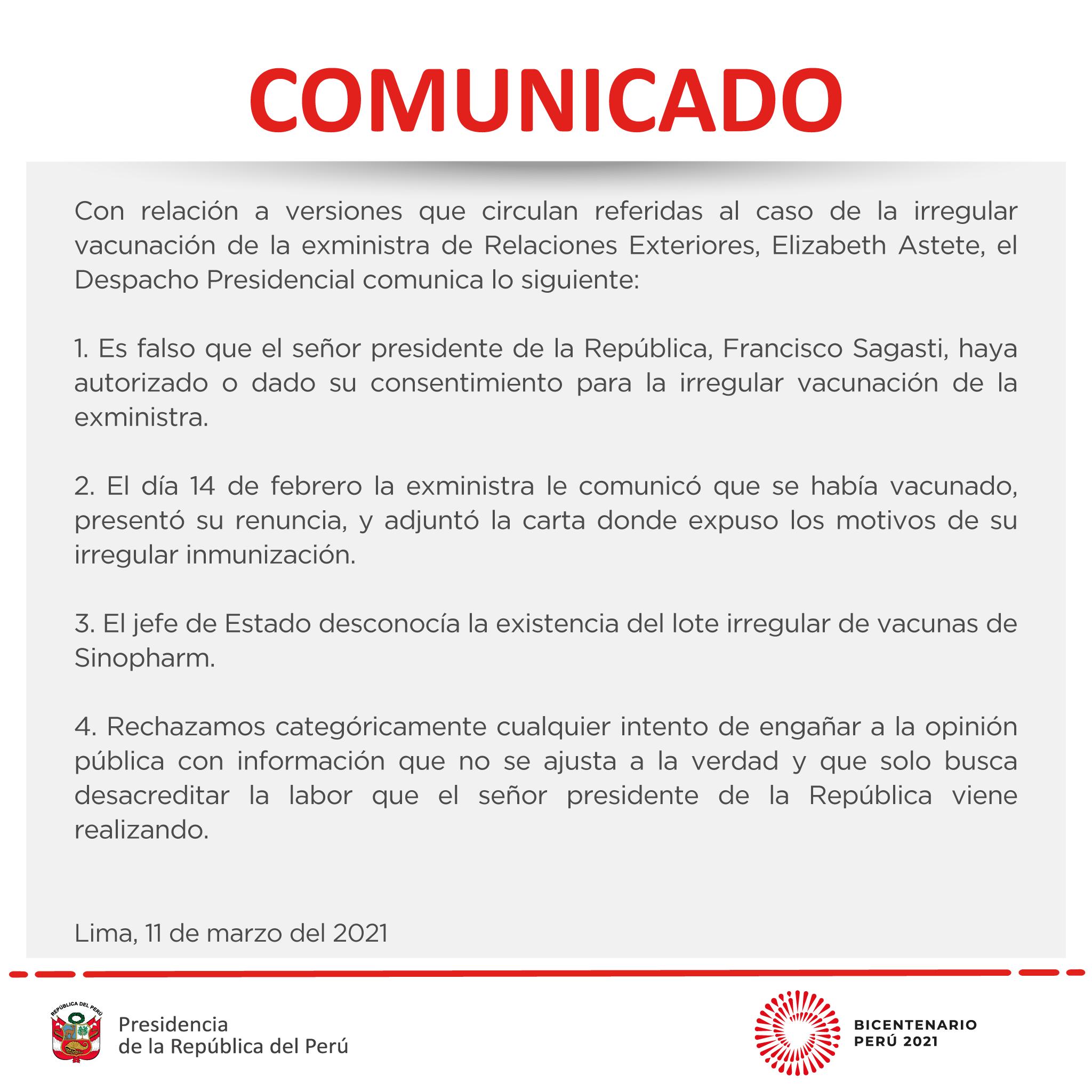 Comunicado de Palacio de Gobierno