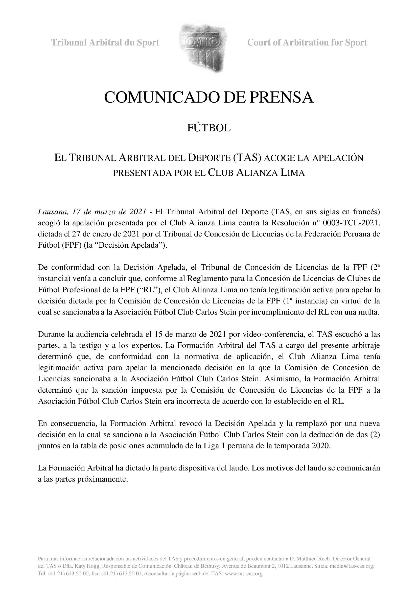 Comuniado Tas, caso Alianza Lima