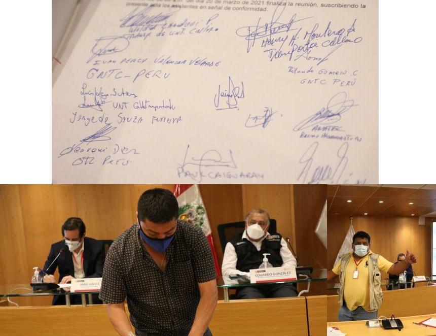Transportistas suscriben con el Gobierno acta de acuerdos que pone fin a paro (Foto: MTC).