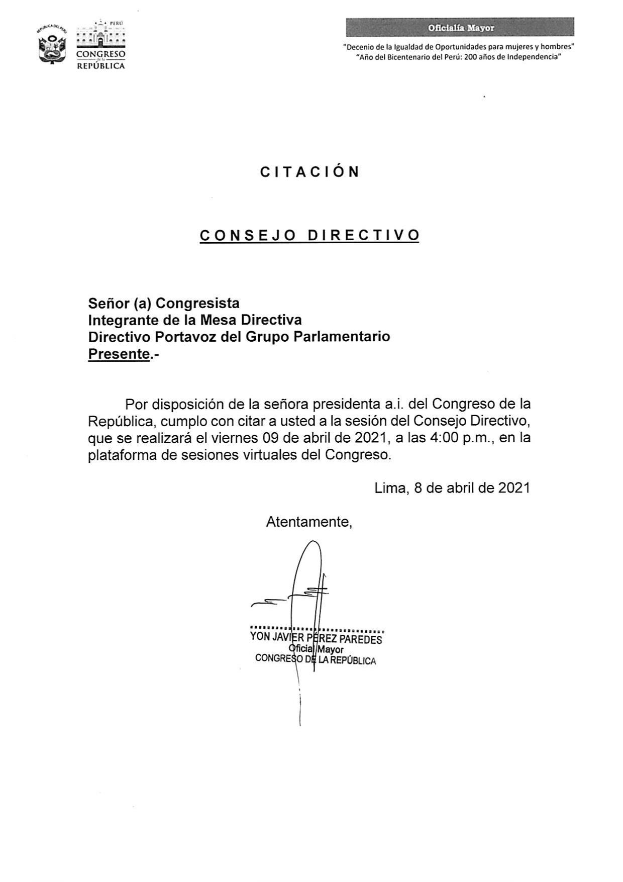 Citación del Consejo Directivo