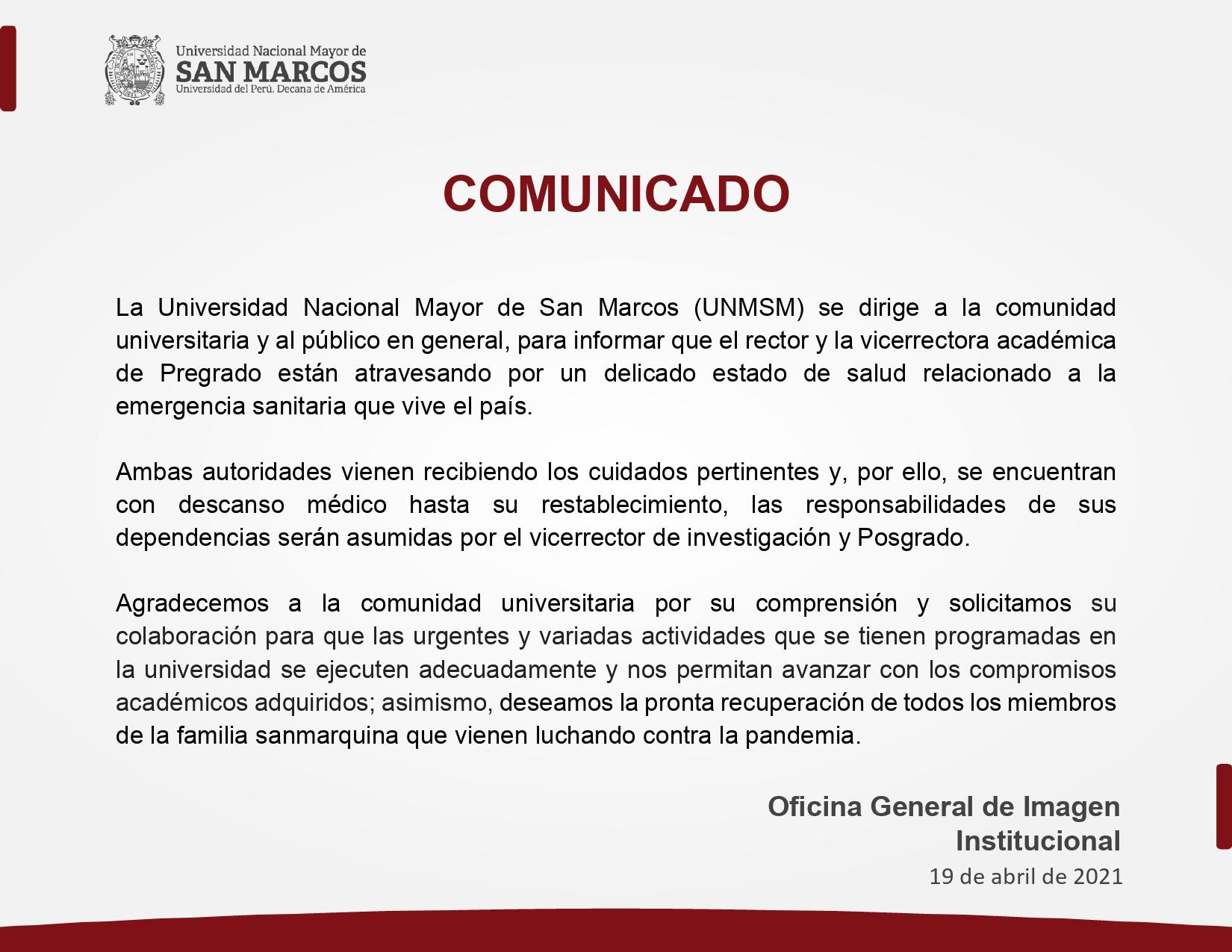 Comunicado UNMSM.