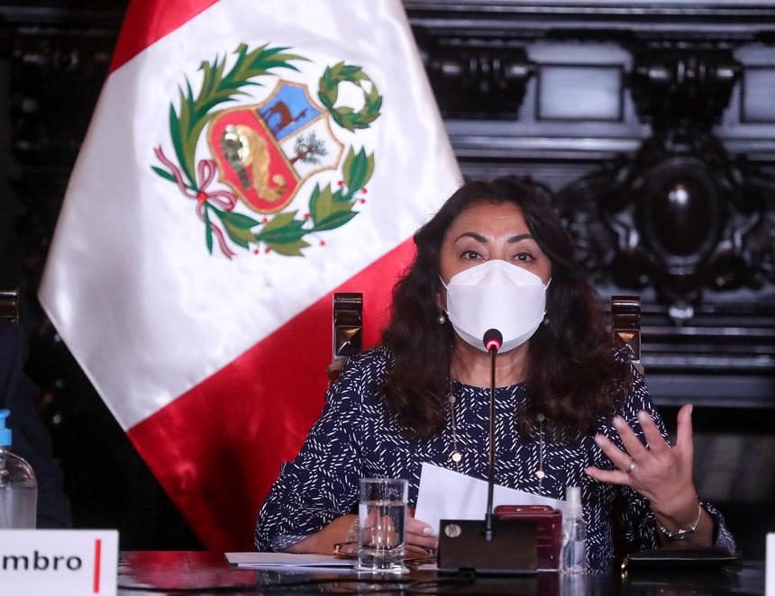Violeta Bermúdez en conferencia de prensa (Foto:PCM).