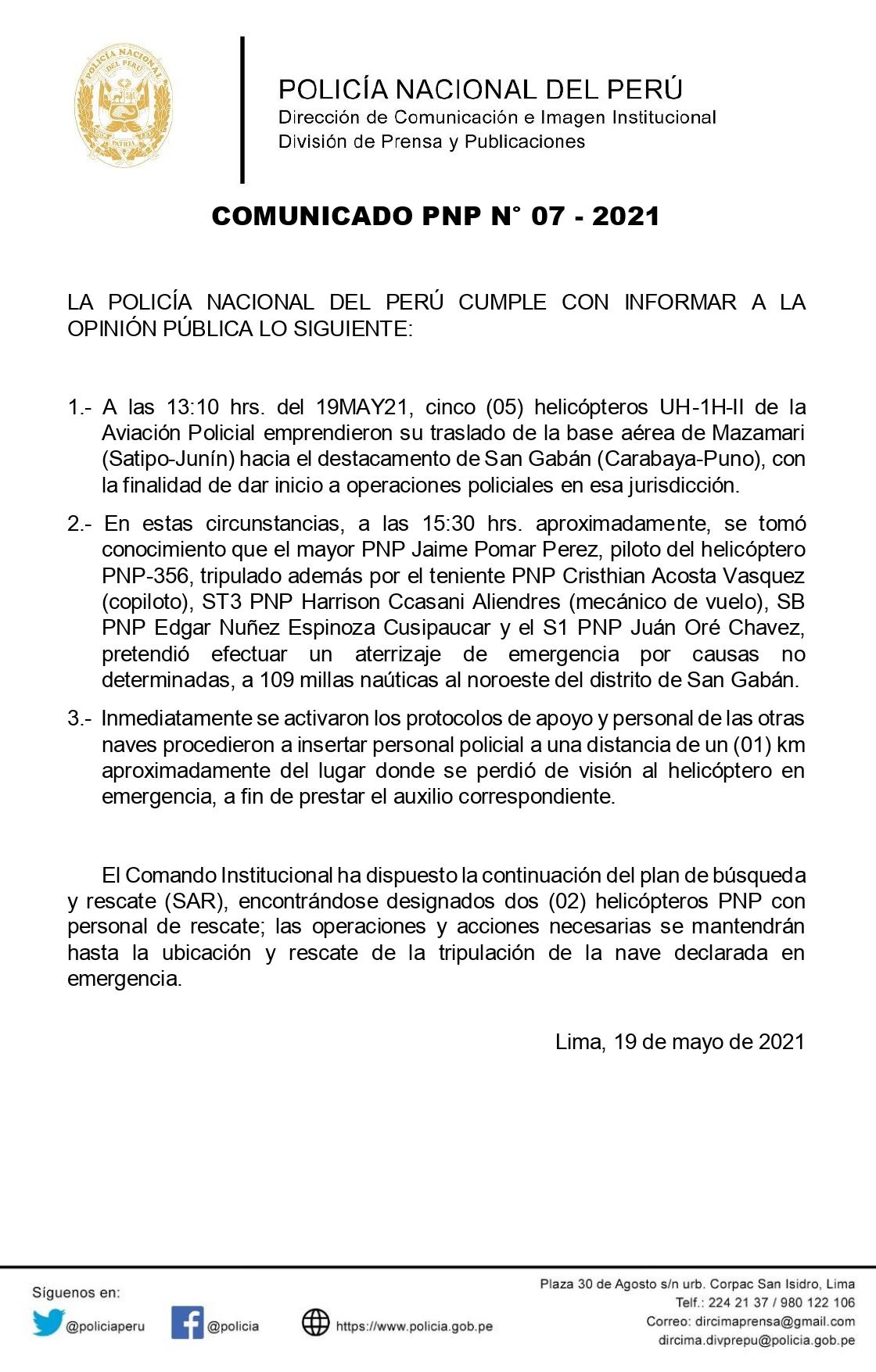 Comunicado Ministerio del Interior