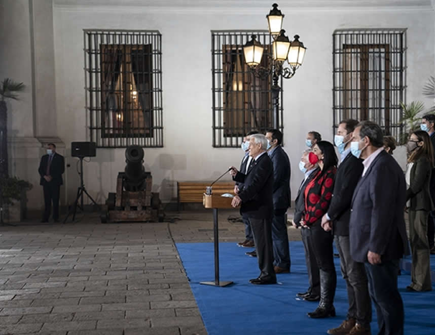 Presidente Sebastián Piñera en el Palacio de La Moneda (Foto: prensapresidencia.cl)