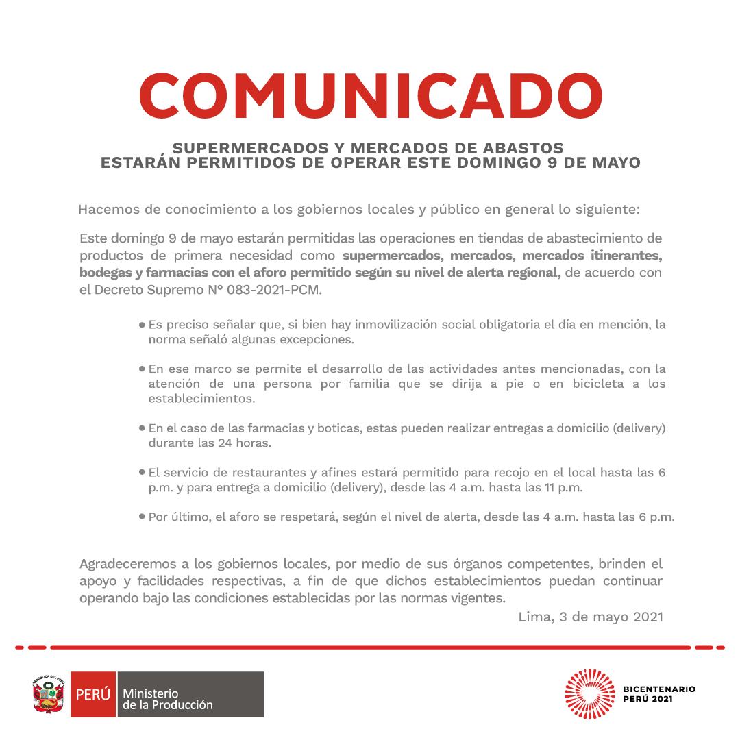 Comunicado Ministerio de la Producción