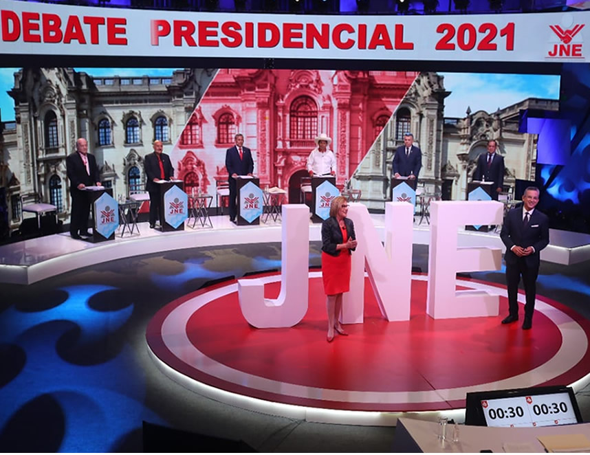 Debate presidencial organizado por el Jurado Nacional de Elecciones (Foto: JNE).