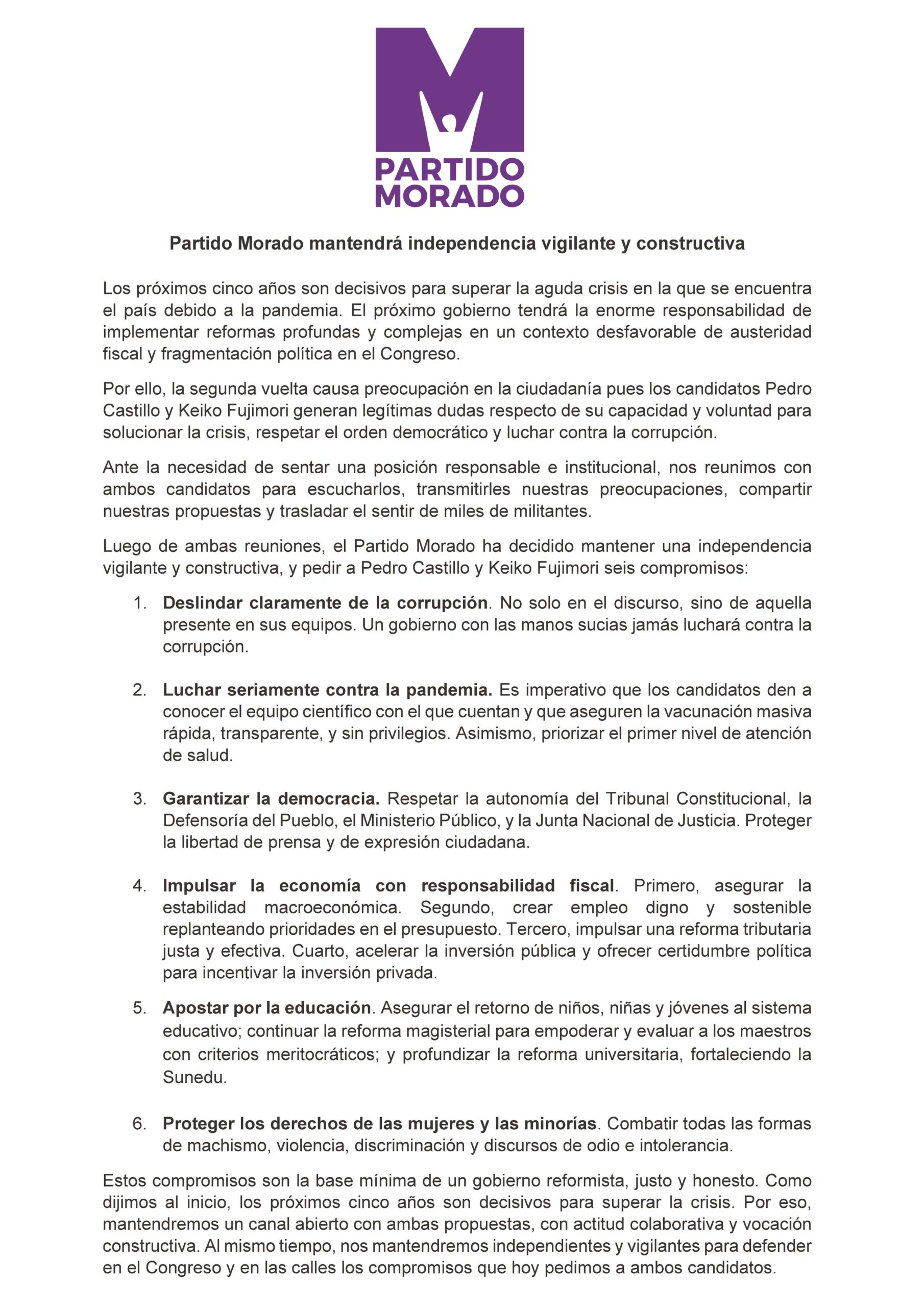 Declaración del Partido Morado