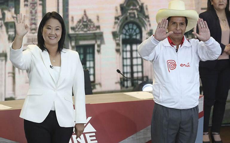 Pedro Castillo y Keiko Fujimori después del debate (Foto: agencia andina).