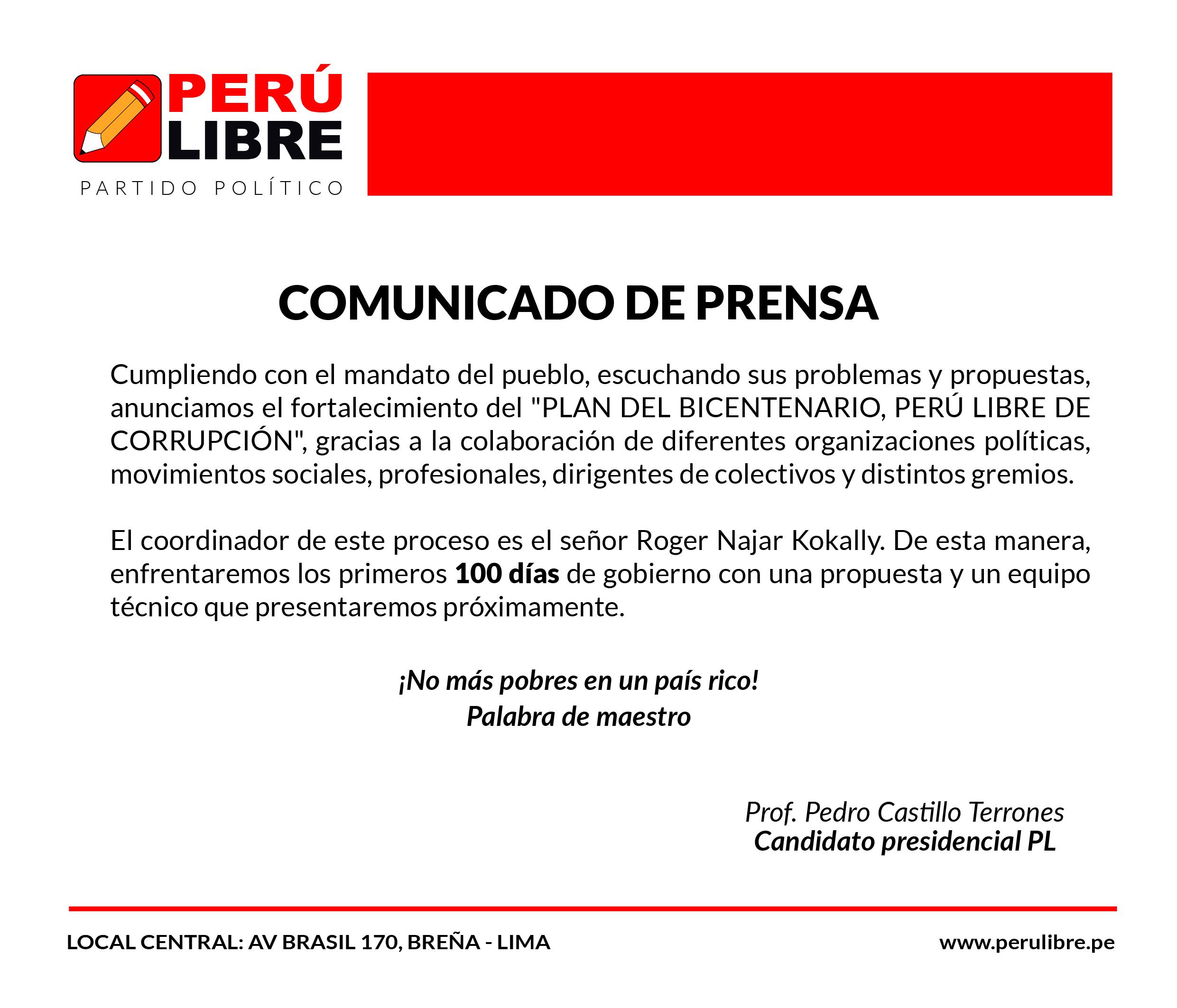 Comunicado de Perú Libre
