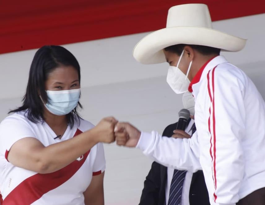 Keiko Fujimori y Pedro Castrillo.