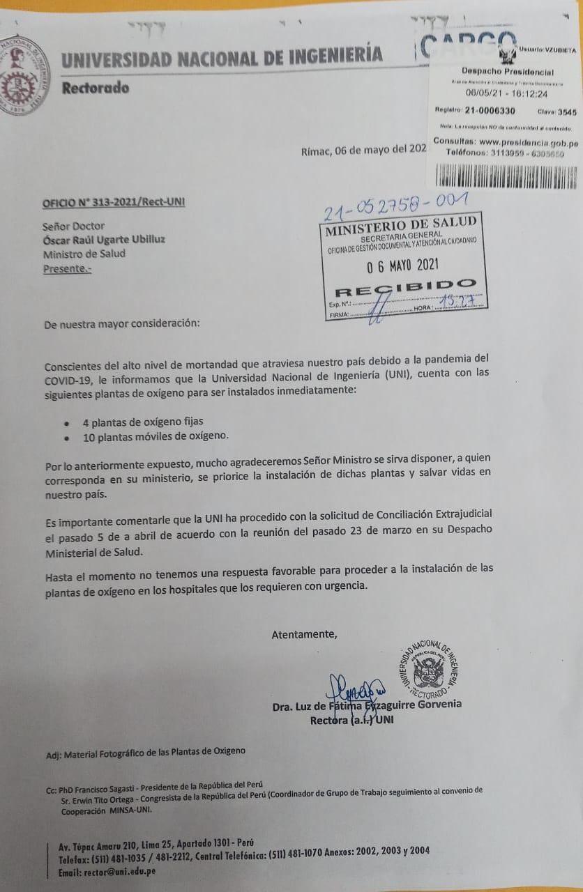 Carta que envía la UNI al Minsa.