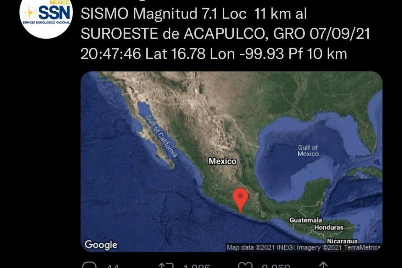 Sismo Acapulco, México.