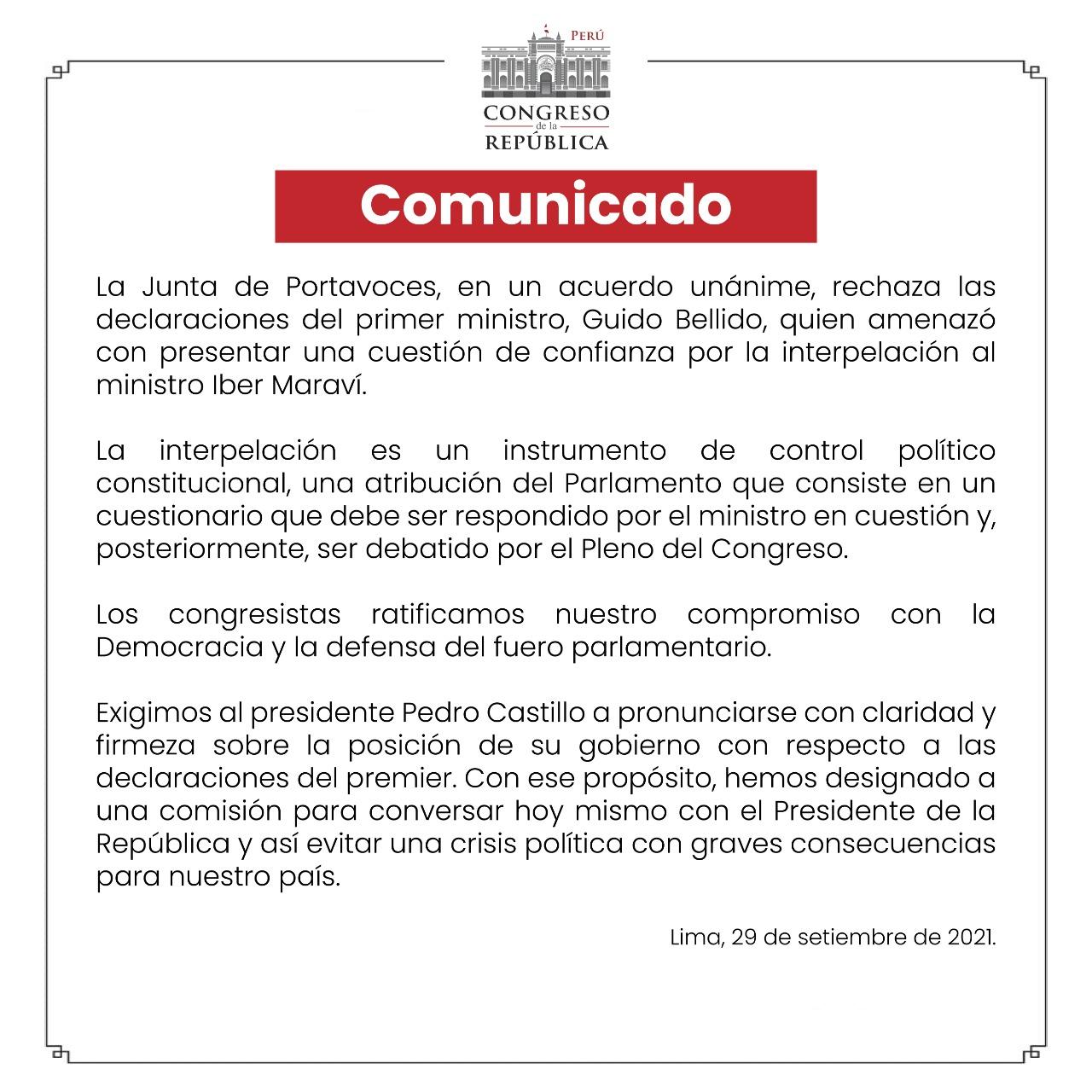 Comunicado del congreso de la República.