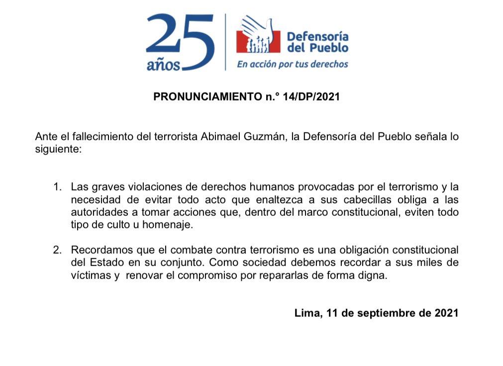 Pronunciamiento de la Defensoría del Pueblo, caso Abimael Guzmán