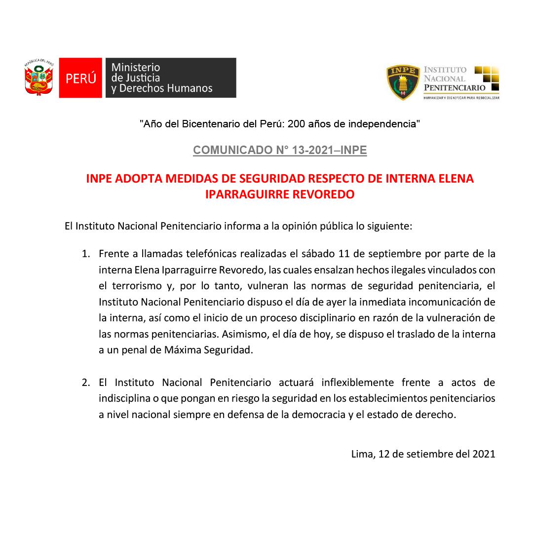 Comunicado INPE sobre Elena Iparraguirre