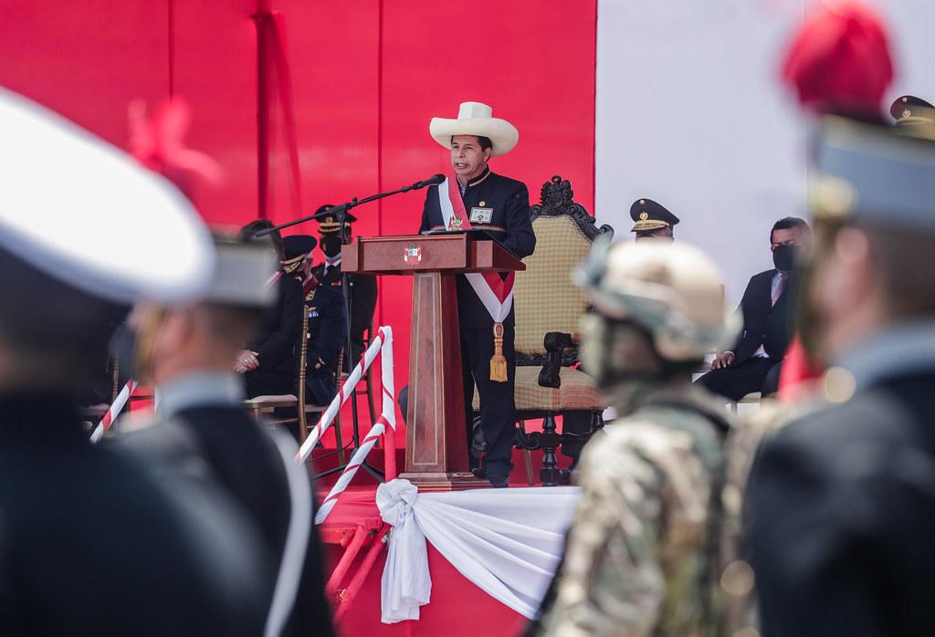 Presidente Pedro Castillo en la ceremonia por el Día de las FFAA (Foto: Presidencia de la República).