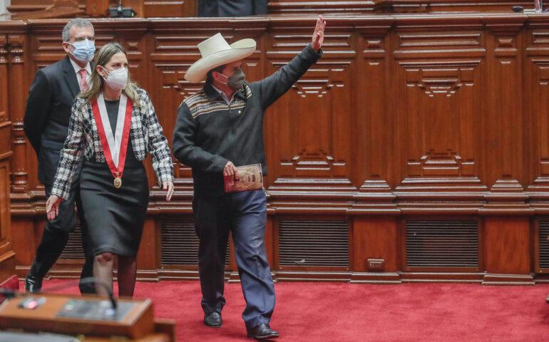 Pedro Castillo en ceremonia del Congreso 1