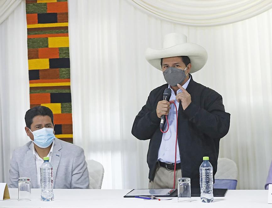 Pedro Castillo ofrece discurso en Cajamarca (Foto: Presidencia de la República).