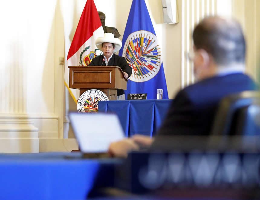 Pedro Castillo expone palabras de agradecimiento a la OEA (Foto: Presidencia de la República).