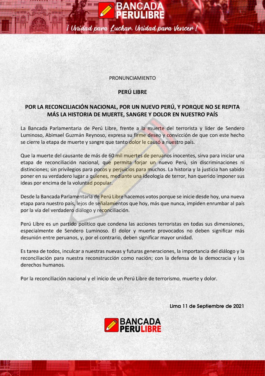 Pronunciamiento de la Bancada de PerúLibre
