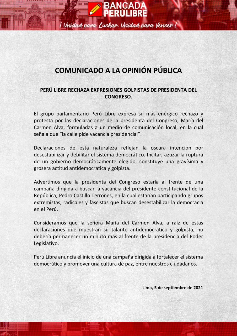 Perú Libre, comunicado