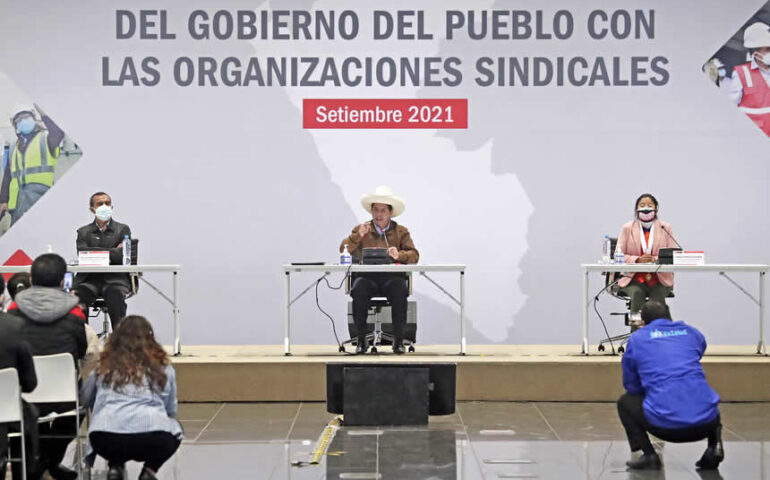 Pedro Castillo en el I Encuentro del Gobierno del Pueblo con las Organizaciones Sindicales (Foto: Presidencia de la República).