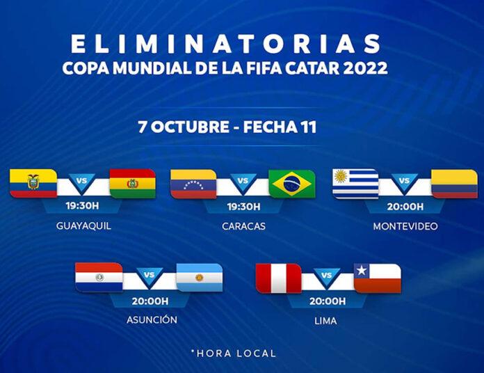 Partidos de la fecha por las eliminatorias sudamericanas (imagen: Conmebol).
