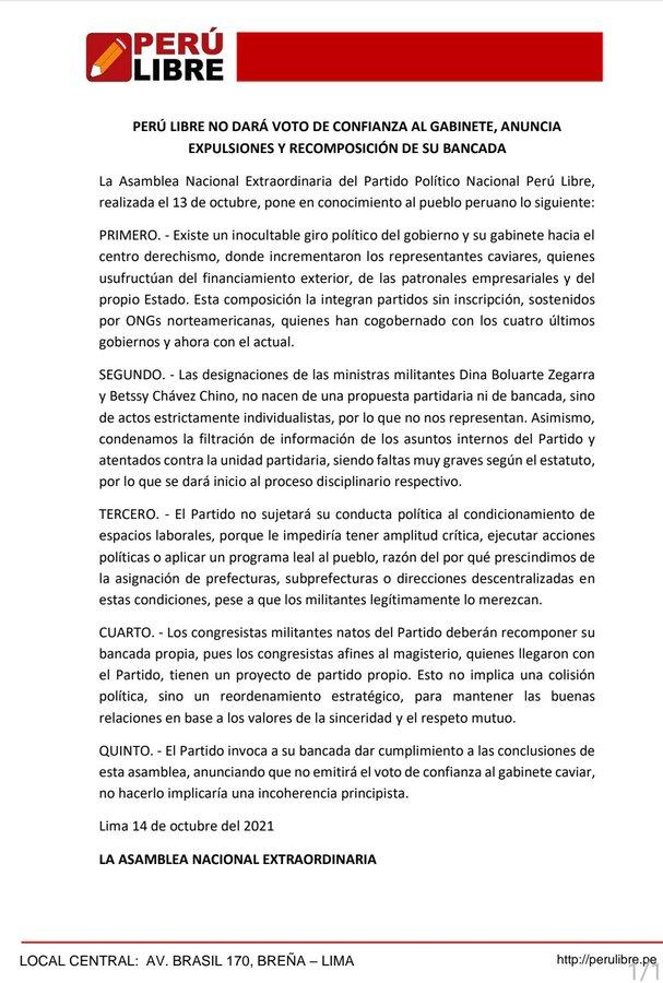 Comunicado de Perù Libre