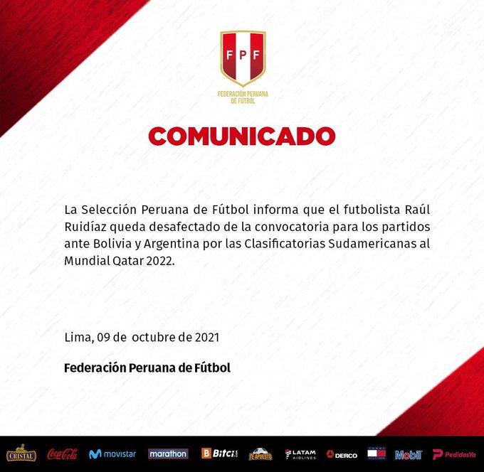 Desconvocatoria de Raúl Ruidíaz